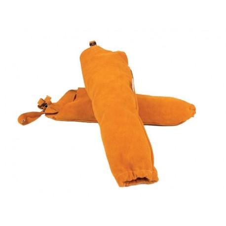 Manguitos al hombro en serraje amarillo