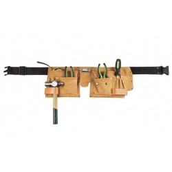 Cinturon portaherramientas con bolsa plana de cuero con cuatro departamentos. Miguel Miranda B40 _Mm