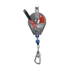 Rescatador para trípode MIRA HRA de 12 m de cable de acero. Con manivela para rescate y mosquetón fijo de acero tipo gancho.