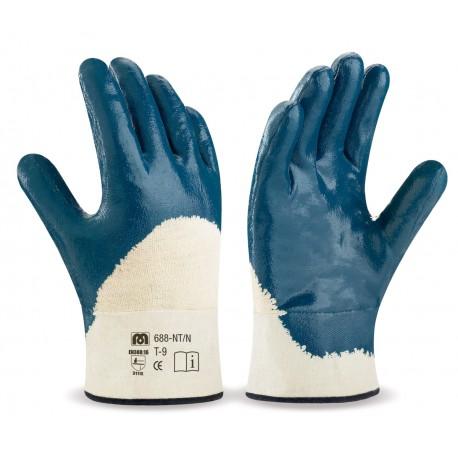 Dorso transpirable. Guante Nitrilo flexible con soporte de punto de algodón, manguito rígido y forro interior.