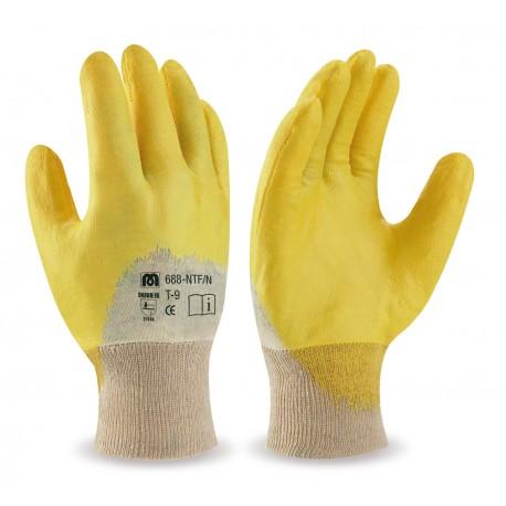 Dorso transpirable. Guante Nitrilo flexible con soporte de punto de algodón y puño elástico.
