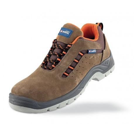 "Zapato piel serraje marrón S1P ""Metal Free"" con suela de Poliuretano doble densidad. Mod. ""LUSITANIA""."