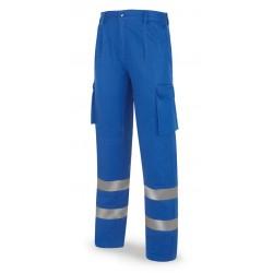 Pantalón azulina algodón 245 g. con bandas reflectantes.