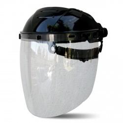 Visor fabricado en policarbonato de 2,25 mm de espesor, de alta resistencia mecánica y química.
