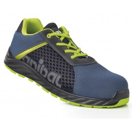 "Zapato piel serraje azul S1P ""Metal Free"" con suela de Poliuretano doble densidad. Mod. ""HISPALIS""."