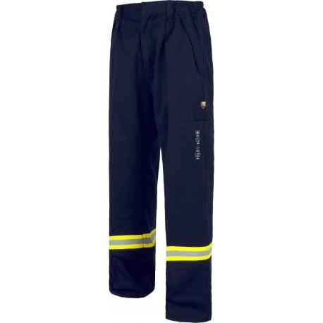 Pantalón con cintura elástica y cremallera de metal oculta.